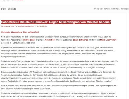 Bahnstrecke Bielefeld-Hannover: Gegen Milliardengrab von Minister Scheuer