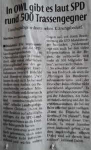 2021-01-10 In OWL gibt es laut SPD über 500 Trassengegner